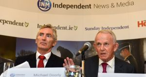 INM's new interim CEO Michael Doorly (left) with chairman Leslie Buckley at the media group's AGM  in August. Then CEO Robert Pitt did not sit beside the chairman. Photograph: Dara Mac Dónaill