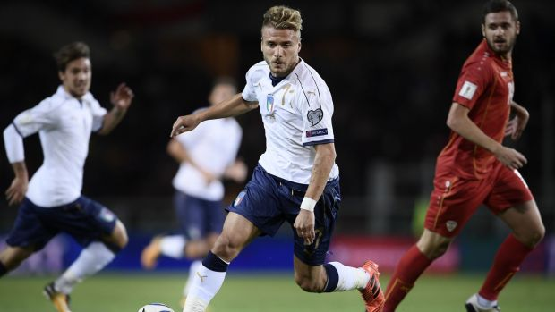 Italy's Ciro Immobile in action during the qualifier against Macedonia at the Grande Torino Stadium in Turin. Photograph: Marco Bertorello/AFP/Getty Images
