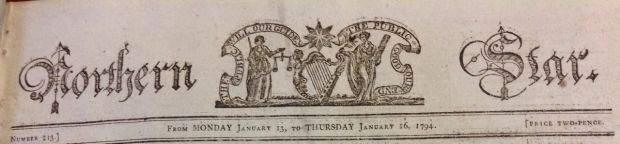 The masthead of the United Irishman newspaper founded by Samuel Neilson