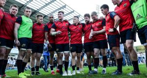 Peter O'Mahony addresses the Munster team huddle at Stade Pierre Fabre in Castres. Photograph:  Billy Stickland/Inpho