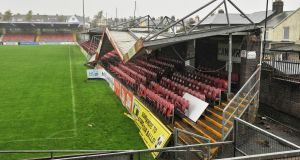 Part of the Derrynane Stand end  roof collapsed at Cork City's Turner's Cross ground due to high winds during Hurricane Ophelia. Photograph: Daragh Mc Sweeney/Provision
