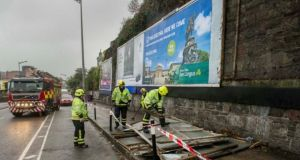 Advertising hoarding is ripped off during Storm Ophelia near Kent Station in Cork city. Photograph: Daragh Mc Sweeney/Provision