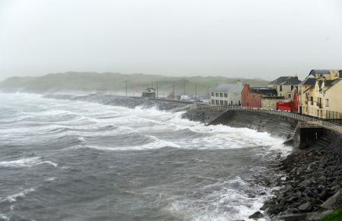 Storm Ophelia batters the Atlantic coast of Ireland in Lahinch village, County Clare. Photograph: Aidan Crawley / EPA