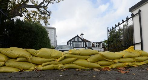 Sandbagged house in the Sandymount area of Dublin.  Photograph: Cyril Byrne / The Irish Times