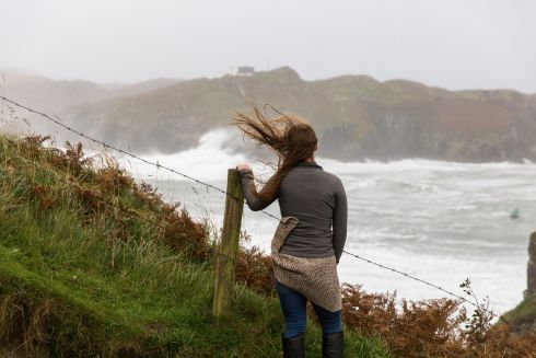 A live gallery of images as ex-hurricane Ophelia reaches Ireland. The gallery will be updated throughout the day.. Watching the high winds of Ophelia in Baltimore, West Cork on Monday morning.  Photograph: Emma Jervis