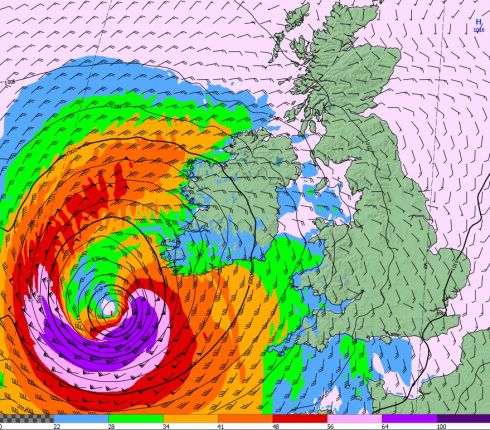 Met Eireann guidance of path of Ophelia posted at 9am