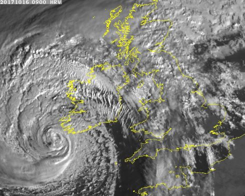 Met Eireann posted this 9am satellite image of Ophelia off the south-west coast