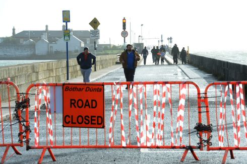 The Wooden bridge to Dollymount, Dublin closed off on Monday morning. Photograph: Dara Mac Donaill / The Irish Times
