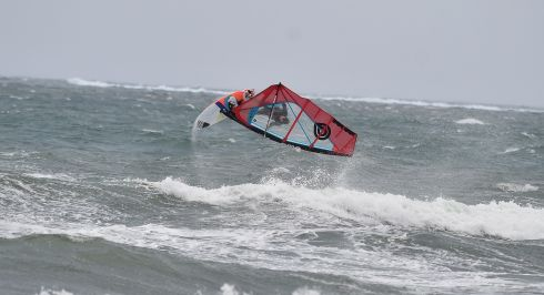 Windsurfers take too the water off the Kerry Coast  at the Maherees in Castlegregory on Monday. Photograph: Domnick Walsh