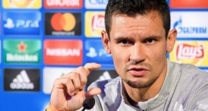Liverpool  defender Dejan Lovren at a press conference ahead of his side's   Champions League match against NK Maribor. Photograph: Jure Makovec/AFP/Getty Images