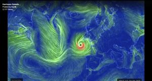 A visualisation of the path of Storm Ophelia as it was expected to hit Ireland, from the Earthwindmap website