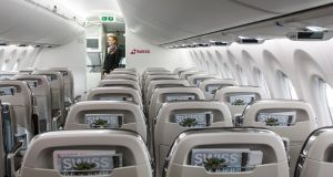 Interior view of the cabin of a new Bombardier C-Series CS100 airplane. Photograph: Alexandra Wey/EPA