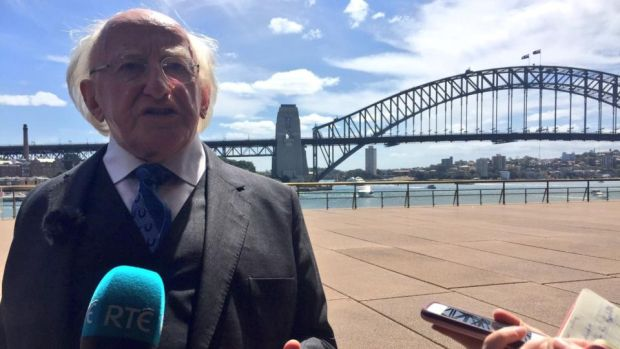 President Michael D Higgins speaks to reporters in Sydney during a State visit. Photograph: Simon Carswell