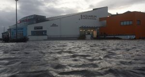 The Galway Atlantaquaria National Aquarium of Ireland building is seen submerged in floodwater during Storm Ophelia. Photograph: Reuters/Clodagh Kilcoyne