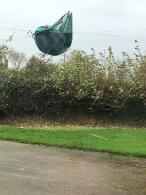 Sarah Reynolds, Navan, Co Meath: 'Our trampoline, which was tied town and double secured this morning, took flight around 3pm.'