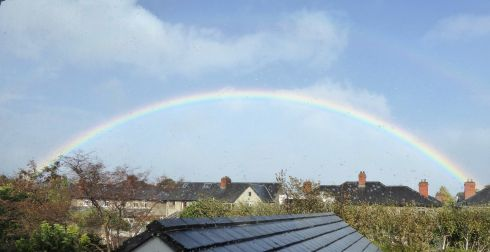 Rainbow over the rooftops in Sandymount, Dublin 4. Photograph: Catherine and Kurt Kullmann