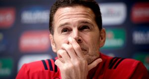 Munster Director of Rugby Rassie Erasmus talks to the media at UL, Limerick on Tuesday. Photograph: Bryan Keane/Inpho