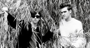 Johnny Marr  and Morrissey. The Smiths played their first Dublin gig when they  performed at the Trinity Sudents Christmas Party in 1983. Photograph:  Clare Muller/Redferns/Getty