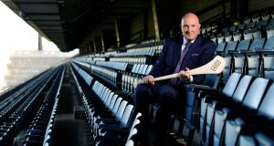 New Dublin hurling manager Pat Gilroy in Croke Park to launch the AIG Fenway Hurling Classic and Irish Festival. Photograph: Brendan Moran/Sportsfile