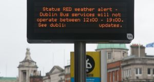 Dublin bus sign showing cancellations due to Storm Ophelia.  Photograph: Gareth Chaney Collins