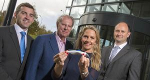AventaMed co-founder John Vaughan, chairman Jack Cashman, co-founder and CEO Olive O'Driscoll and Bruce Clibborn of HBAN Boole Investment Syndicate. Photograph: Michael Mac Sweeney/Provision