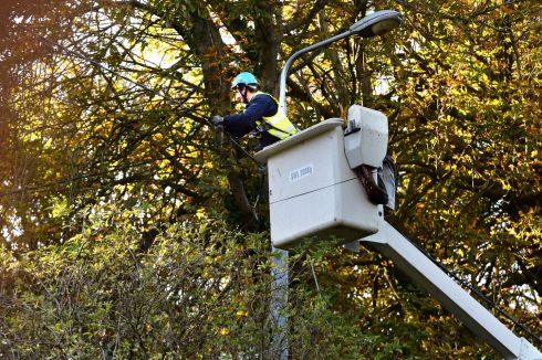 ESB crew at Glenamuck Road restoring services on Tuesday morning following Ophelia storm damage.  Photograph: Cyril Byrne/The Irish Times.