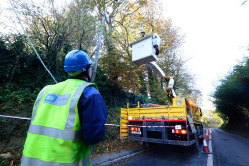 Scene on Glenamuck Road, Carrickmines on Tuesday morning as ESB workers conducted repairs to restore services.    Photograph: Cyril Byrne/The Irish Times.