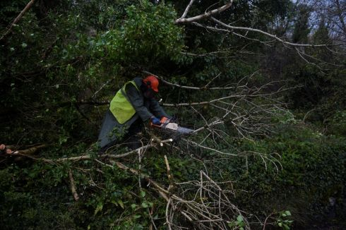 A worker clears fallen trees off a road with a chainsaw during Storm Ophelia in the Burren area of County Clare.  Photograph: Clodagh Kilcoyne / Reuters