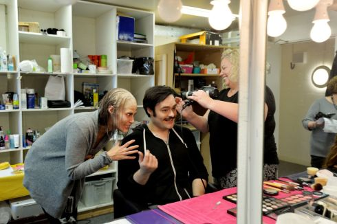 Veta Pillpenko who plays the part of Korableva with Gerard Schneider who plays the part of Prince Dimitri being prepared by Carole Dunne, Head of Wigs & Makeup, for a dress rehearsal of Risurrezione by Franco Alfano.