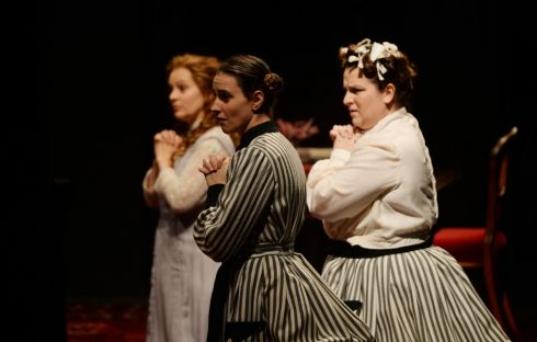 Anne Sophie Duprels, Eliza Safjan and Romina Tommasoni perform during a dress rehearsal.