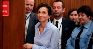 French former culture minister and newly elected head of Unesco Audrey Azoulay: she was chosen by the UN body's 58-member executive council after five rounds of voting. Photograph: Thomas Samson/AFP/Getty Images