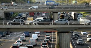 Traffic on  the  M50: The 45.5-kilometre  road  now carries an average  of 142,496 vehicles a day; up from 109,434 in 2009. Photograph: Alan Betson/The Irish Times