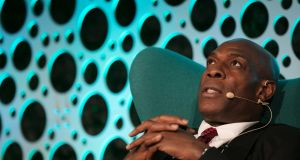 Guest speaker and former professional boxer Frank Bruno on stage at Croke Park in Dublin. Photograph:   Patrick Bolger/Getty Images for One Zero