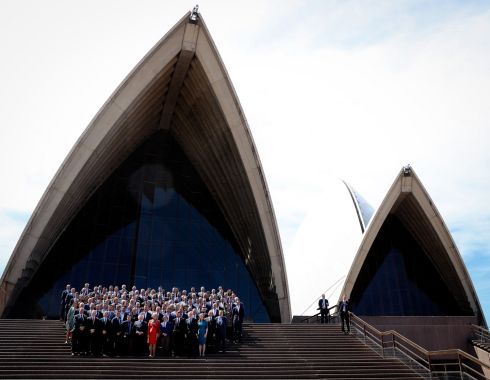 HOUSE CALL: President Michael D Higgins visits the Sydney Opera House during his State visit to Australia. Photograph: Maxwell's