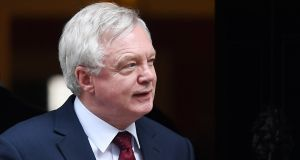 "British  Brexit minister David Davis: ""In a negotiation you always have to have the right to walk away – if you don't, you get a terrible deal"", he told MPs in the House of Commons. Photograph: Andy Rain/EPA"