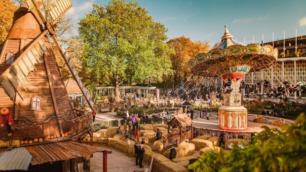 The Tivoli Gardens in central Copenhagen, a popular park with amusements, stalls and lots to eat and drink