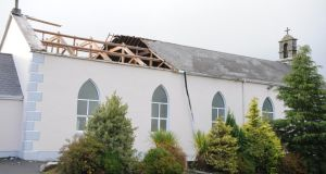 Part of the roof of Kilcorney church in north Cork blown off during Storm Ophelia. Photograph:  John Tarrant