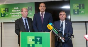 "Minister for Transport Shane Ross, Taoiseach Leo Varadkar and Minister of State  Kevin ""Boxer"" Moran during a media briefing on Storm Ophelia in Dublin on Monday. Photograph: Gareth Chaney Collins"