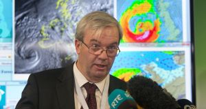 Sean Hogan during a media briefing on Storm Ophelia at the National Emergency Co-ordination Centre in Dublin. Photograph: Gareth Chaney/Collins