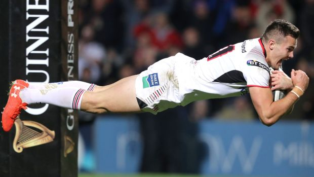 Ulster's impressive Jacob Stockdale scores a try against Connacht in Belfast. Photograph: Dan Sheridan/Inpho