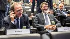 Republic of Ireland manager Martin O'Neill and assistant manager Roy Keane at Fifa headquarters, in Zurich, Switzerland, for the play-off draw. Photograph:  Andy Mueller/Inpho