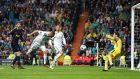 Karim Benzema misses a chance to score. Photograph: Paul Hanna/Reuters