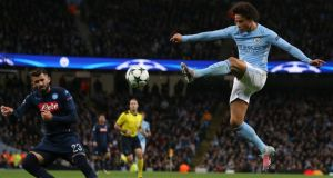 Manchester City's Leroy Sane in action against Napoli. Photograph: EPA