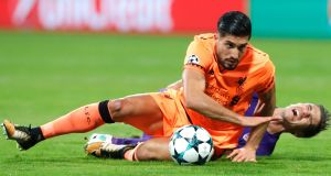 Liverpool's Emre Can  in action against  Maribor. Photograph: EPA