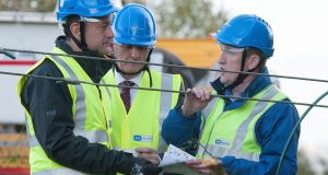 .Taoiseach Leo Varadkar was in Drumlargan, near Kilcock inspecting damage to power lines caused by storm Ophelia. Photograph: Dave Meehan/The Irish Times