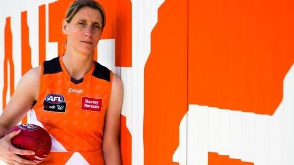 Cora Staunton in the colours of the GWS Giants' AFLW team. Photograph: Supplied