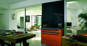 Lacanche Cluny five-burner in mandarin orange, €4,980.
