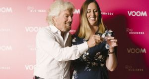 Richard Branson and Rosanne Longmore of Coroflo with the breastfeeding device: the start-up plans to launch its device in Ireland  in the third quarter of 2018. Photograph:  Jonathan Syer