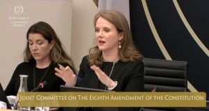 Senator Catherine Noone, Chair of the Oireachtas Committee on the Eighth Amendment to the Constitution, speaks during session this afternoon. Photograph: Oireachtas TV
