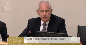 "Prof Peter Boylan,  former master of Holles Street hospital and chairman of the Institute of Obstetricians and Gynaecologists of Ireland, said the Eighth Amendment is ""unworkable"". Photograph: Oireachtas TV"